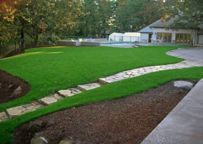 Flagstone Path Recessed in Turf