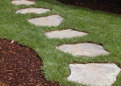 Flagstone Stepping Stones Recessed in Turf