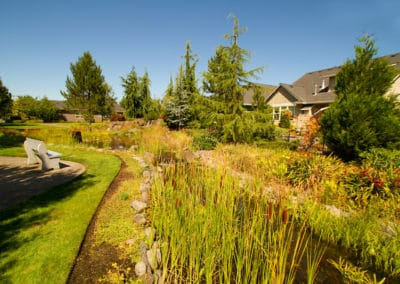 Gathering and Activity Area with Camas Rock Waterfeature for HOA