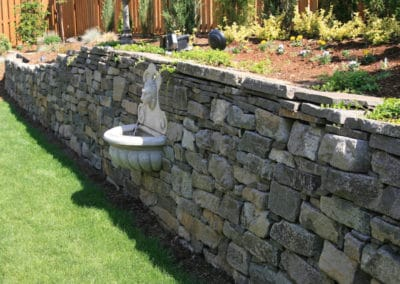 Hand Stacked Rock Wall with Fountain