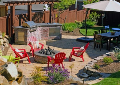 Outdoor Brick Kitchen, Arbel Paver Patio and Firepit