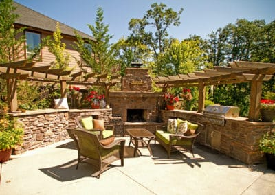 Outdoor Living Space with Screening and Cedar Arbor