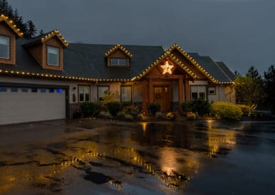 Residential warm white lights with star in entry